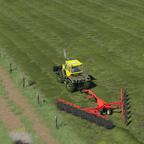 Gras schwaden mit einem Sonnenrad